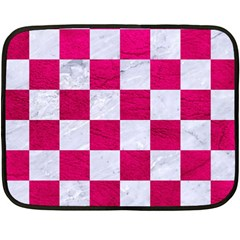 Square1 White Marble & Pink Leather Fleece Blanket (mini)