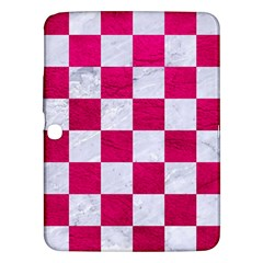 Square1 White Marble & Pink Leather Samsung Galaxy Tab 3 (10 1 ) P5200 Hardshell Case