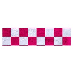 Square1 White Marble & Pink Leather Satin Scarf (oblong)
