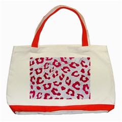 Skin5 White Marble & Pink Leather Classic Tote Bag (red)