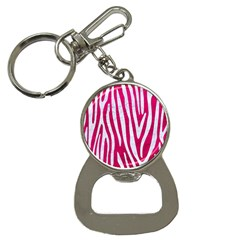 Skin4 White Marble & Pink Leather (r) Bottle Opener Key Chains
