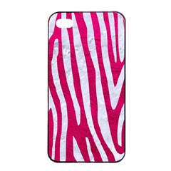 Skin4 White Marble & Pink Leather (r) Apple Iphone 4/4s Seamless Case (black)