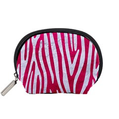 Skin4 White Marble & Pink Leather (r) Accessory Pouches (small)  by trendistuff