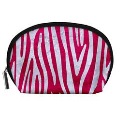 Skin4 White Marble & Pink Leather (r) Accessory Pouches (large)
