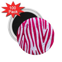 Skin4 White Marble & Pink Leather 2 25  Magnets (100 Pack)
