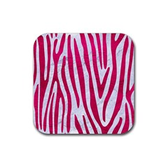 Skin4 White Marble & Pink Leather Rubber Square Coaster (4 Pack)
