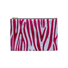 Skin4 White Marble & Pink Leather Cosmetic Bag (medium)
