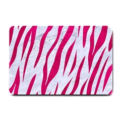 Skin3 White Marble & Pink Leather (r) Small Doormat