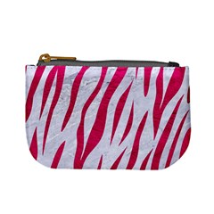 Skin3 White Marble & Pink Leather (r) Mini Coin Purses