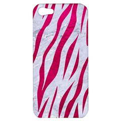 Skin3 White Marble & Pink Leather (r) Apple Iphone 5 Hardshell Case