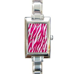 Skin3 White Marble & Pink Leather Rectangle Italian Charm Watch