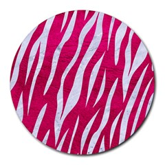 Skin3 White Marble & Pink Leather Round Mousepads