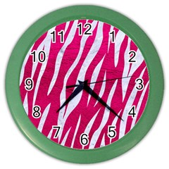 Skin3 White Marble & Pink Leather Color Wall Clocks