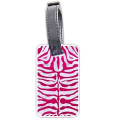 Skin2 White Marble & Pink Leather (r) Luggage Tags (one Side)