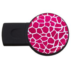 Skin1 White Marble & Pink Leather (r) Usb Flash Drive Round (4 Gb)