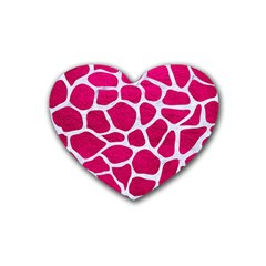 Skin1 White Marble & Pink Leather (r) Rubber Coaster (heart)  by trendistuff