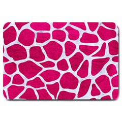 Skin1 White Marble & Pink Leather (r) Large Doormat  by trendistuff