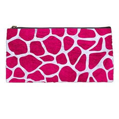 Skin1 White Marble & Pink Leather (r) Pencil Cases by trendistuff