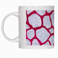 Skin1 White Marble & Pink Leather White Mugs by trendistuff