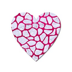 Skin1 White Marble & Pink Leather Heart Magnet