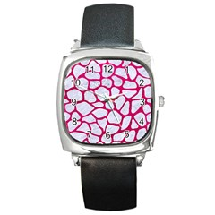 Skin1 White Marble & Pink Leather Square Metal Watch by trendistuff