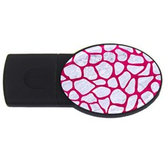 Skin1 White Marble & Pink Leather Usb Flash Drive Oval (4 Gb) by trendistuff
