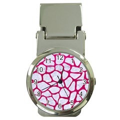 Skin1 White Marble & Pink Leather Money Clip Watches by trendistuff