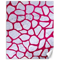Skin1 White Marble & Pink Leather Canvas 16  X 20   by trendistuff