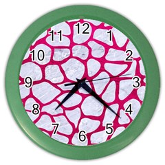 Skin1 White Marble & Pink Leather Color Wall Clocks by trendistuff