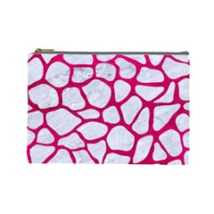 Skin1 White Marble & Pink Leather Cosmetic Bag (large)