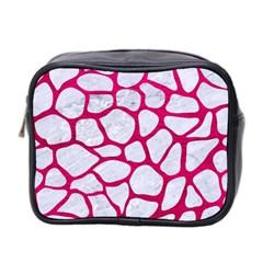 Skin1 White Marble & Pink Leather Mini Toiletries Bag 2 Side