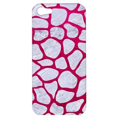 Skin1 White Marble & Pink Leather Apple Iphone 5 Hardshell Case by trendistuff