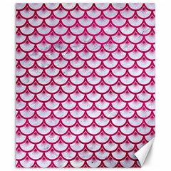 Scales3 White Marble & Pink Leather (r) Canvas 20  X 24   by trendistuff