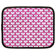 Scales3 White Marble & Pink Leather (r) Netbook Case (xxl)
