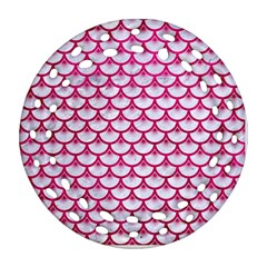 Scales3 White Marble & Pink Leather (r) Ornament (round Filigree)