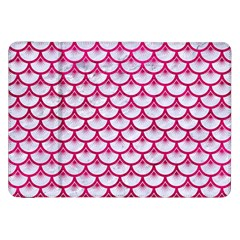 Scales3 White Marble & Pink Leather (r) Samsung Galaxy Tab 8 9  P7300 Flip Case