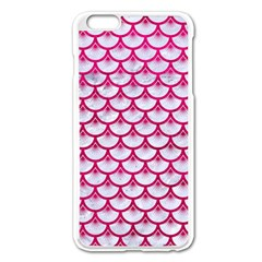 Scales3 White Marble & Pink Leather (r) Apple Iphone 6 Plus/6s Plus Enamel White Case