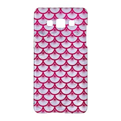 Scales3 White Marble & Pink Leather (r) Samsung Galaxy A5 Hardshell Case  by trendistuff
