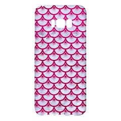 Scales3 White Marble & Pink Leather (r) Samsung Galaxy S8 Plus Hardshell Case