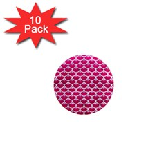 Scales3 White Marble & Pink Leather 1  Mini Magnet (10 Pack)