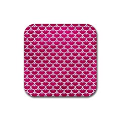 Scales3 White Marble & Pink Leather Rubber Square Coaster (4 Pack)