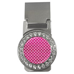 Scales3 White Marble & Pink Leather Money Clips (cz)