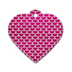 Scales3 White Marble & Pink Leather Dog Tag Heart (one Side)