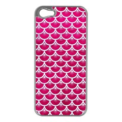 Scales3 White Marble & Pink Leather Apple Iphone 5 Case (silver)