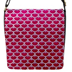 Scales3 White Marble & Pink Leather Flap Messenger Bag (s)