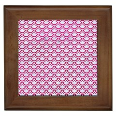 Scales2 White Marble & Pink Leather (r) Framed Tiles