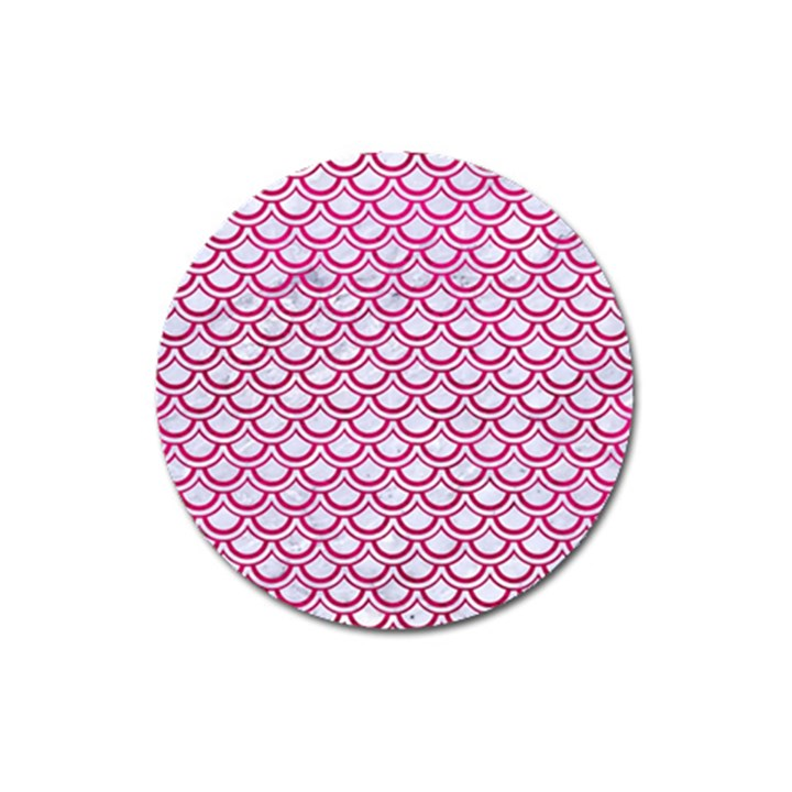 SCALES2 WHITE MARBLE & PINK LEATHER (R) Magnet 3  (Round)