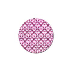 Scales2 White Marble & Pink Leather (r) Golf Ball Marker