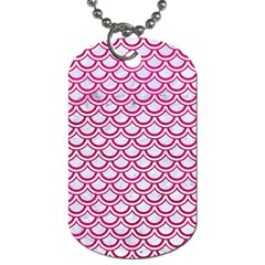 Scales2 White Marble & Pink Leather (r) Dog Tag (two Sides) by trendistuff