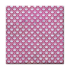 Scales2 White Marble & Pink Leather (r) Face Towel by trendistuff